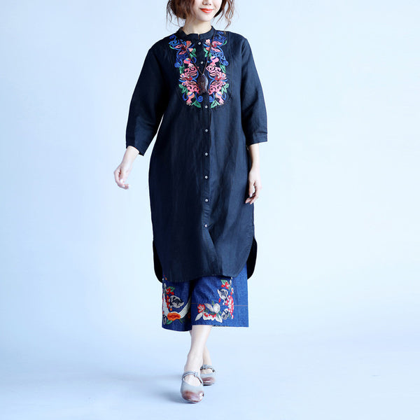 Embroidered Women Ethnic Black Shirt Dress - Buykud
