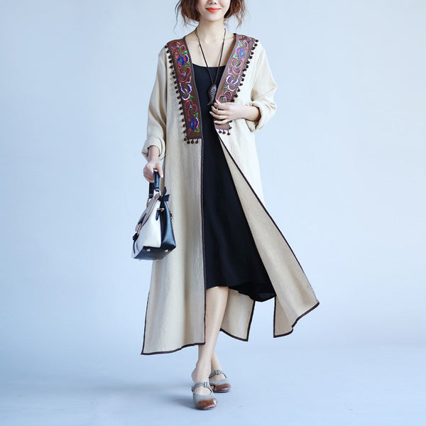 Ethnic Women Retro Splicing Embroidered Beige Coat - Buykud