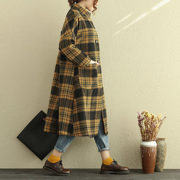 Long Sleeve Stand Collar Lattice Women Winter Wool Coat - Buykud