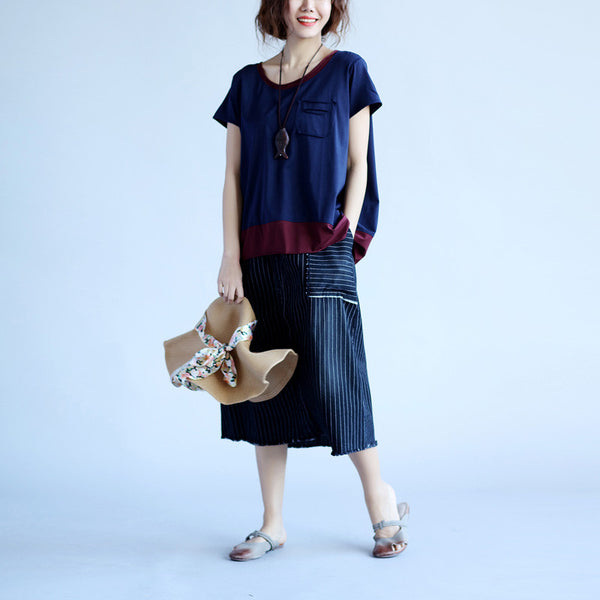 Splicing Cotton Loose Pocket Women Blue Shirt