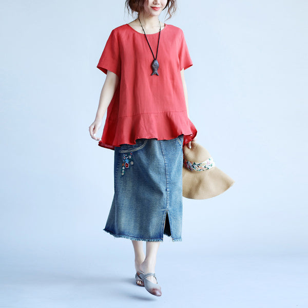 Retro Cotton Loose Women Short Sleeves Red Shirt