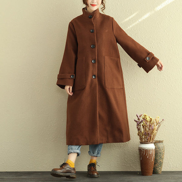 Long Sleeve Single Breasted Casual Women Coffee Coat