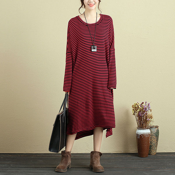 Women Long Sleeve Stripe Slit Casual Loose Dress - Buykud