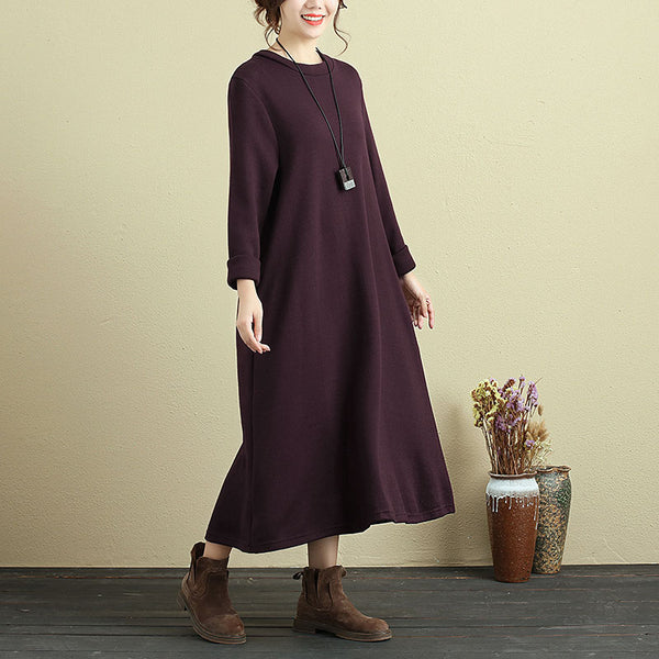 Women Long Sleeve Pockets Casual Calf-Length Dress - Buykud