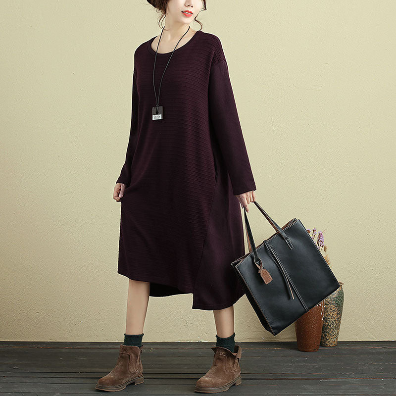 Women Casual Long Sleeve Pockets Stripe Wine Red Dress - Buykud
