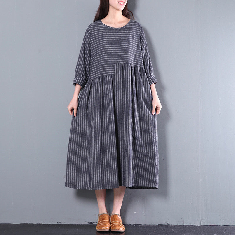 Casual Loose Cotton Long Sleeve Dress