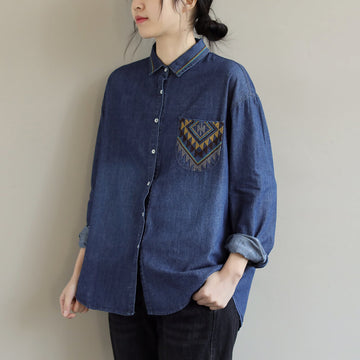 100% Cotton Casual Loose Embroidered Blouse
