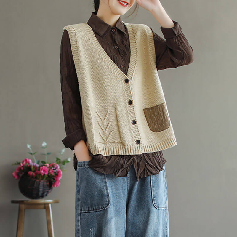 100% Cotton Casual Loose Stitching Pocket Sweater Vest
