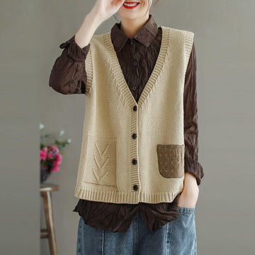 100% Cotton Casual Loose Stitching Pocket Vest