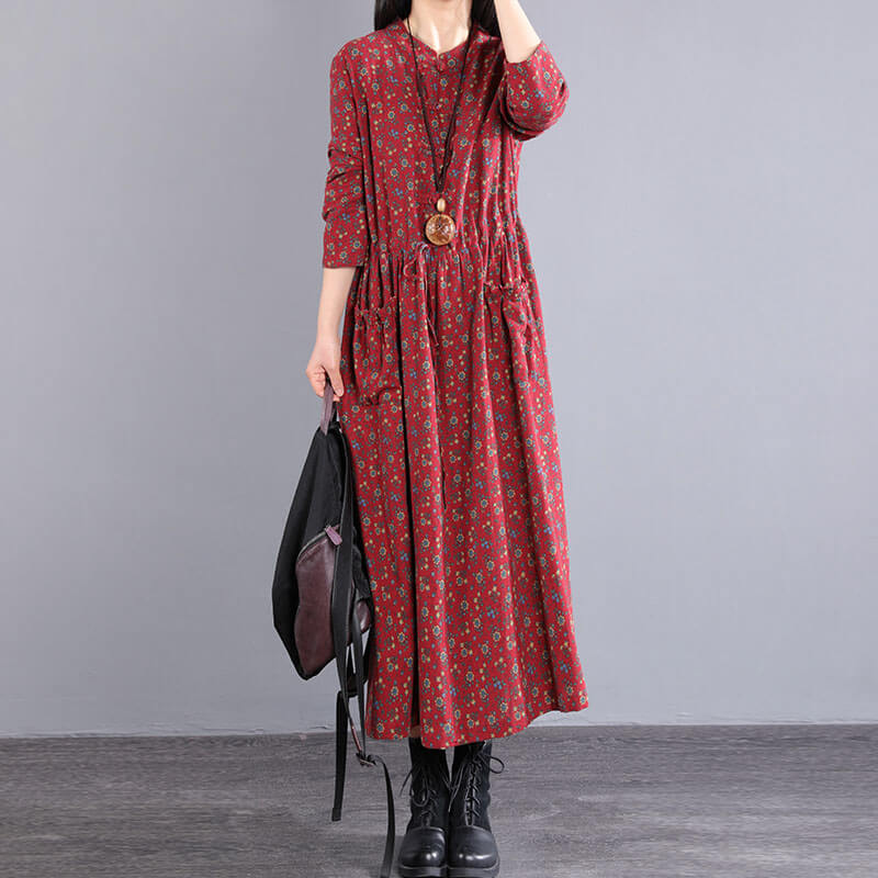 100% Cotton Elastic Waist Lace-up Casual Dress