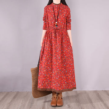 100% Cotton Floral Spring Casual Loose Long Dress