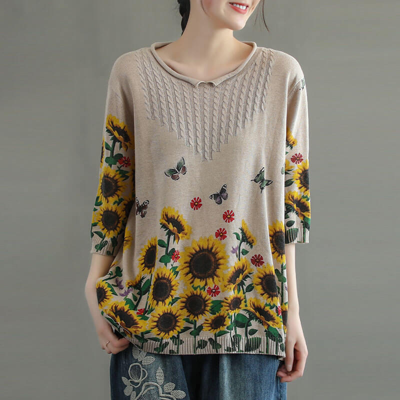100% Cotton Knitted Floral Print Summer T-shirt