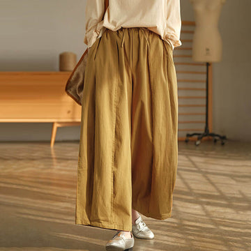 100% Cotton Pure Color Drawstring Pleated Pants