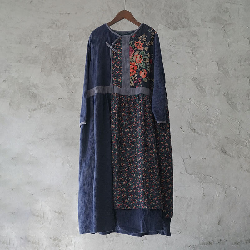 100% Cotton Retro Floral Casual Stitching Long Dress