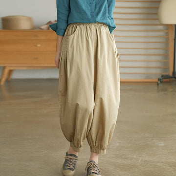 100% Cotton Solid Color Casual Pleated Pants