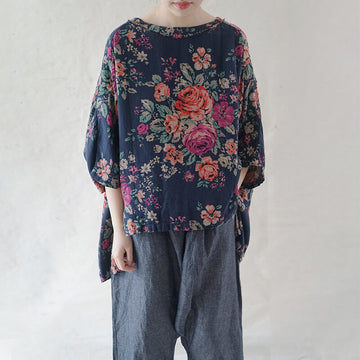 100% Cotton Summer Floral Irregular Hem T-Shirt