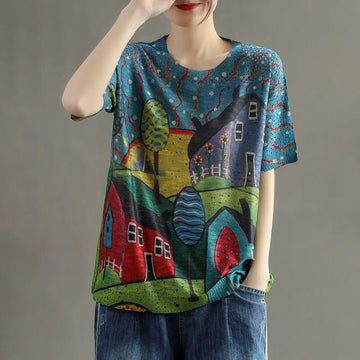100% Cotton Summer Hollow Out Print Knitted T-Shirt