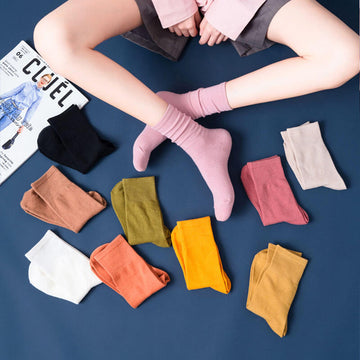 100% Cotton Women Pure Color Thin Socks(10 Pairs)
