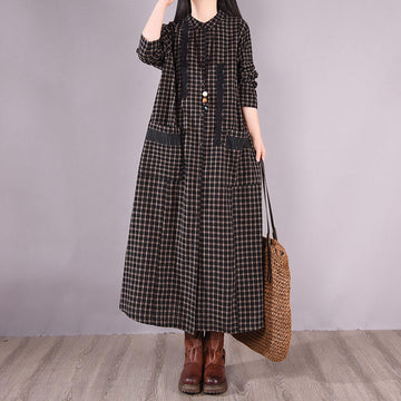 100% Cotton Women Retro Plaid Pocket Long Dress