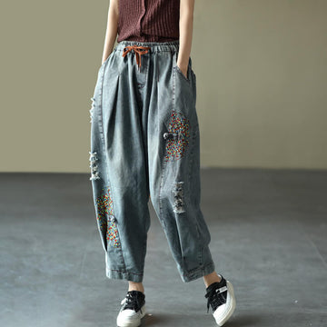 100% Denim Cotton Drawstring Embroidered Harem Pants