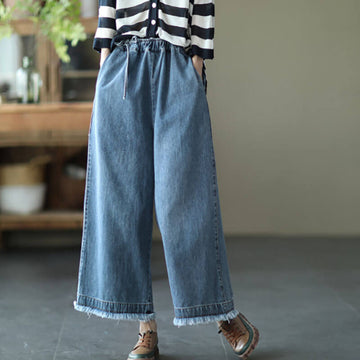 100% Denim Cotton Spring Summer Wide Leg Jeans