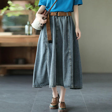 100% Denim Cotton Summer With Waist Belt Skirt