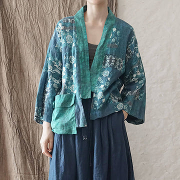 100% Linen Casual Loose Floral Spliced Patchwork Coat