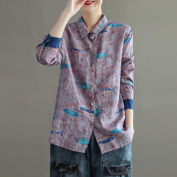 100% Linen Fish Casual Loose Breasted Print Shirt