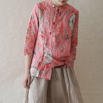 100% Linen Summer Floral Print Retro Casual Shirt