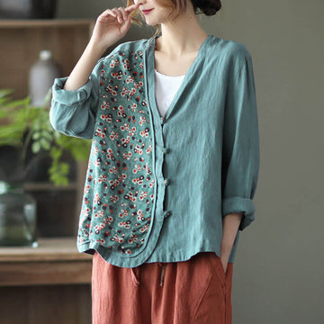 100% Linen Women Summer Spring Stitching Floral Shirt