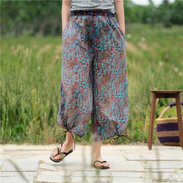 100% Ramie Drawstring Waist Wide Leg Pants