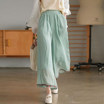 100% Ramie Solid Color Embroidered Wide Leg Pants