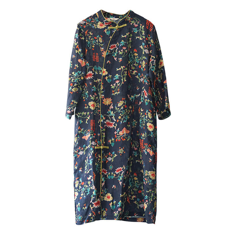 100% Ramie Women Stand Collar Floral Retro Dress