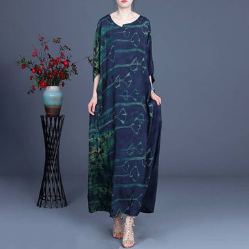 100% Rayon Floral Spring Casual Loose Long Dress