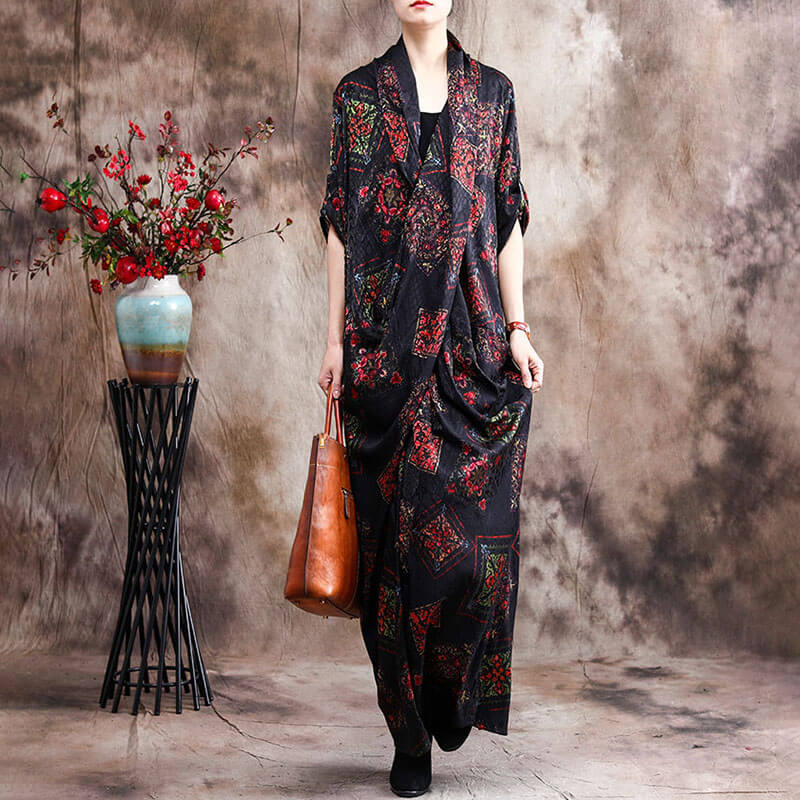 100% Rayon Retro Casual Loose Floral Long Dress