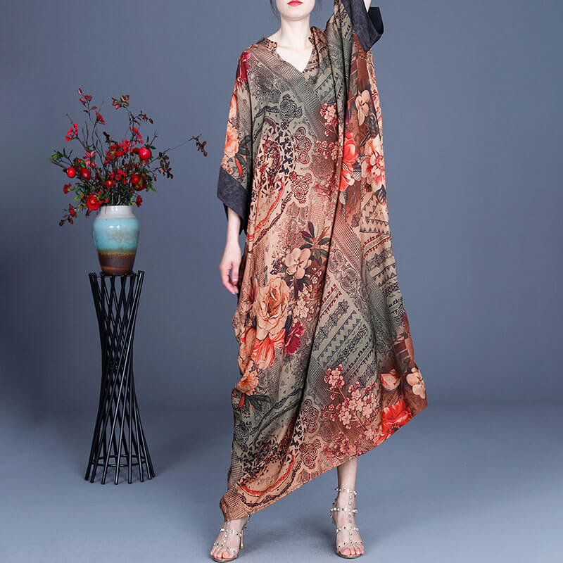 100% Rayon Retro Print Floral Spring Casual Dress