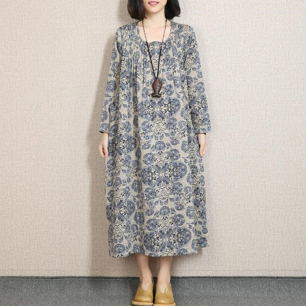 Blue Women Print Cotton Linen Loose Fitting Long Sleeve Spring And Autumn Dress - Buykud
