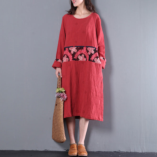 Casual Loose Cotton Linen Spring Long Sleeve Dress