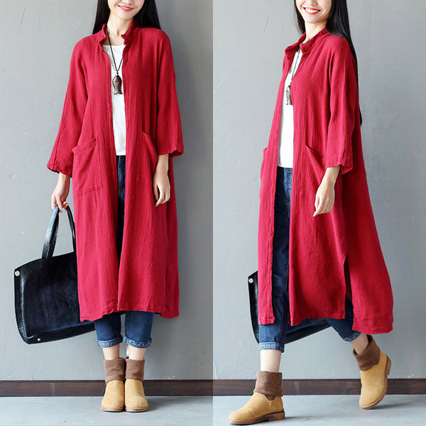 Women Casual Fold Pocket Slit Cotton Red Coat