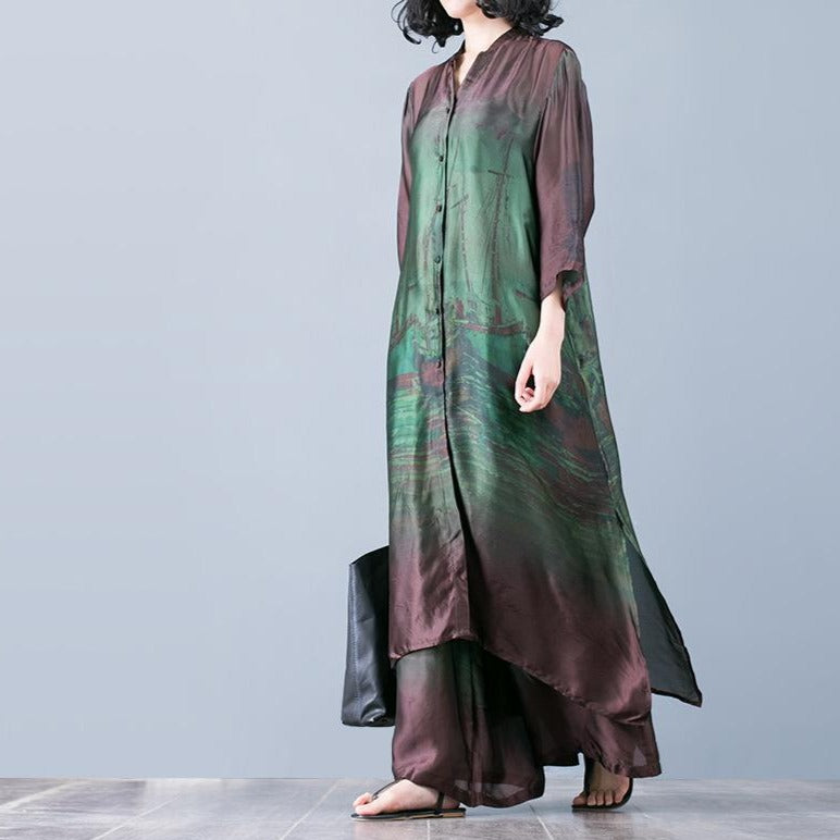 Plus Size - Spring Loose Printing Shirt And Pants