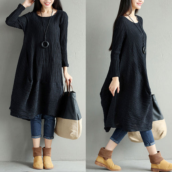 Casual Women Linen Loose Irregular Black Dress