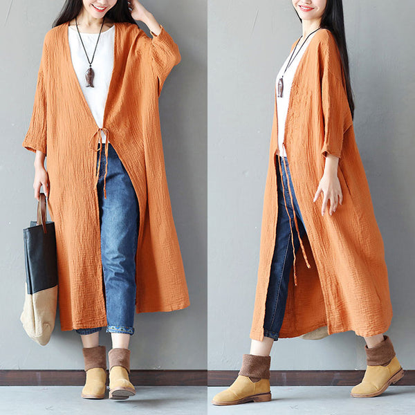 Embroidered Loose Women Casual Cotton Folded Orange Coat - Buykud