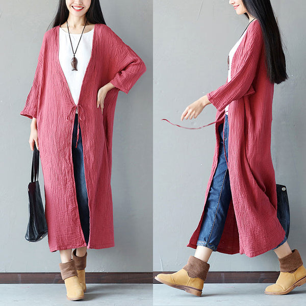 Embroidered Loose Women Casual Cotton Folded Red Coat - Buykud