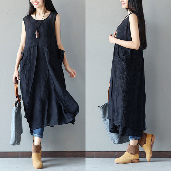 Women Irregular Folded Linen Loose Black Dress