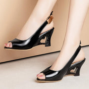 Daily Wedge Heel Peep Toe Pu Sandals