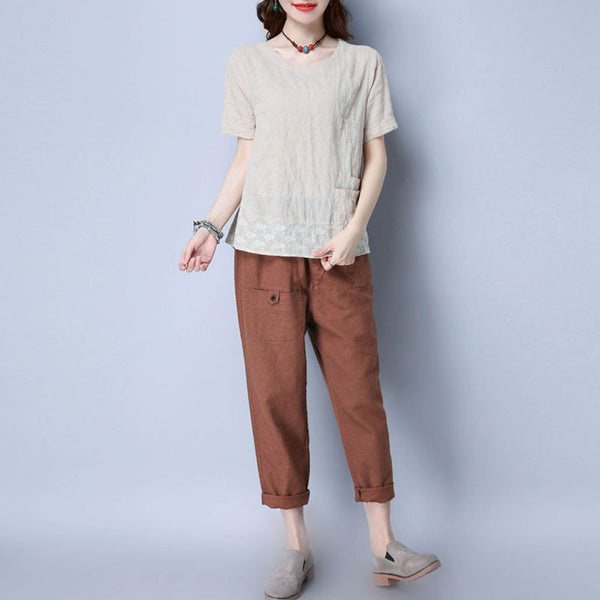Floral Women Cotton Loose Linen Casual Beige Pocket Shirt - Buykud