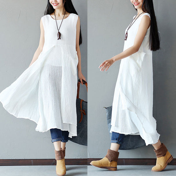 Women Irregular Folded Linen Loose White Dress