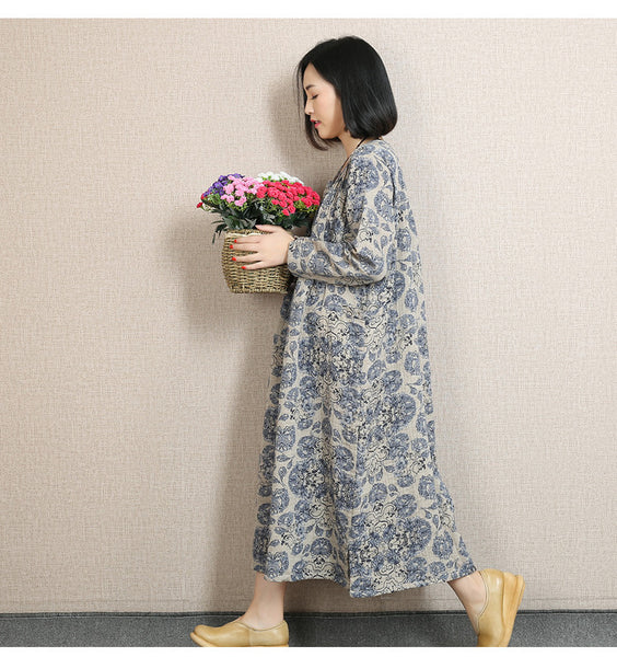 Blue Women Print Cotton Linen Loose Fitting Long Sleeve Spring And Autumn Dress