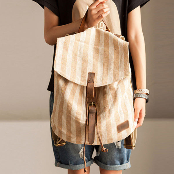 Women Stripe Splicing Beige Backpack