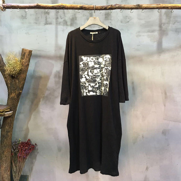 Round Neck Printing Casual Loose Black Dress